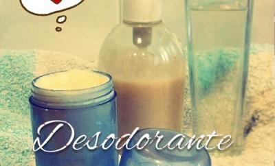 desodorante en barra natural junto a un gel y colonia